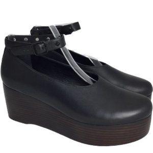 Tibi Jemma Leather Platform Wedge in Black